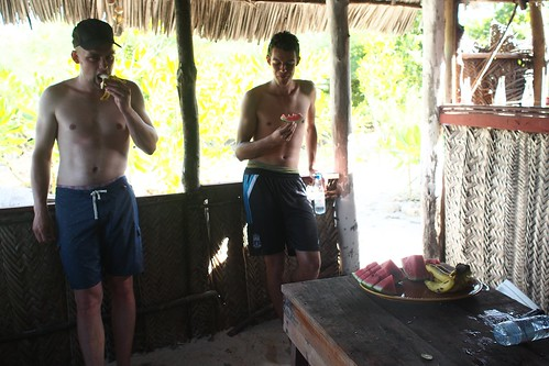 Enjoying fruits after our SUP