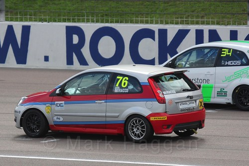 Carlito Miracco and Michael Higgs in Race 2 at the BRSCC Fiesta Junior Championship, Rockingham, Sept 2015