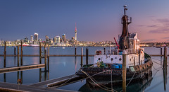 LOYAL (sandflyphoto) Tags: sunset newzealand seascape evening boat twilight cityscape sundown dusk auckland nz skytower tugboat tug bayswater loyal waitemataharbour aucklandcentral bayswatermarina aucklandnorthshore