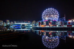 City Lights (OutboundMediaPhoto) Tags: world ocean city sea summer sky canada west reflection building fall sports water beautiful architecture night vancouver contrast canon ball dark stars landscape lights bay coast town globe long exposure downtown waves colours bc seasons angle pacific earth stadium vibrant north wide icon science calm explore dome glove rowing serene nightlife contract pnw soothing 60d