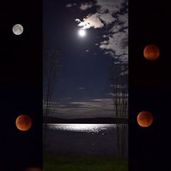 Super bloodmoon (katarina.wikberg) Tags: light red sky reflection water night silver river dark stars eclipse space moonlight total lunar bloodmoon supermoon