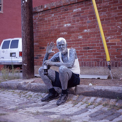 (patrickjoust) Tags: street city blue people urban usa man color 120 6x6 tlr film tattoo analog america lens person us reflex md alley focus fuji mechanical body united north patrick twin maryland wave slide pride baltimore full chrome medium format states manual expired joust e6 comma discontinued estados reversal unidos fujichromeastia100f autaut mamiyac330f sekor80mmf28 patrickjoust