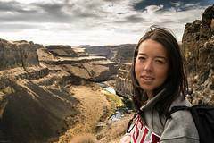 Wife at Palouse Falls, Washington (nick_cody) Tags: woman nature clouds river waterfall washington nikon canyon falls wife washtucna palouse