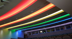 British Library, London (roger.w800) Tags: lighting color colour london rainbow spectrum bloomsbury kingscross britishlibrary rainbowcolors rainbowcolours colouredlighting bloomsburyfestival