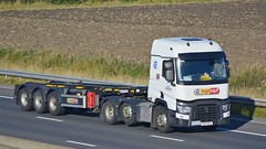 YX14 AHJ (panmanstan) Tags: truck wagon motorway yorkshire transport renault container lorry commercial vehicle range freight sandholme m62 haulage intermodal hgv