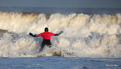 Back Off Waves ! (mootzie) Tags: blue red sea white black scotland team waves aberdeen granite reef wetsuit froth