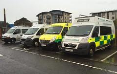 ... Ah!  there it is. The yellow one! (barronr) Tags: white scotland edinburgh ambulance help ae pts britishredcross scottishambulancesaervice emergencyyellow