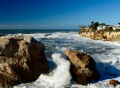 Watching the large waves in Shell Beach California