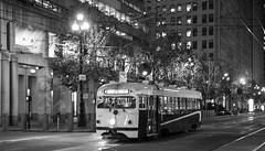 Market Street in the Dark (CurleyR) Tags: dark lights glowing marketstreet streetcar1011 torpedopccstreetcaroriginalsanfranciscotrolleymunisfmtamunicipalrailwaywingsflineferrybuildingdoubleended