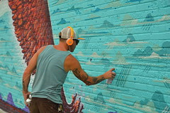 Touching it up (radargeek) Tags: jasonpawley mural paint plazadistrict plazafest 2016 okc oklahomacity