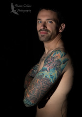 Model Tom (Shawn Collins Photography) Tags: model modeling tattoo ink built masculine hairy beard scruff male malemodel shirtless abs chest eyes handsome rugged