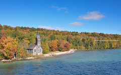 Grand Island East Channel Light! (peddhapati) Tags: munising michigan unitedstates lighthouse grand island east channel light mi lake superior 2016 nikond90 fall autumn colors beautiful outdoors water sky scenic boat ride bhaskarpeddhapati nature soothing usa
