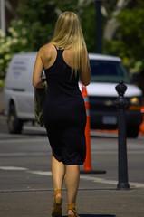 Crosswalk (swong95765) Tags: woman female lady beautiful blonde walking city crosswalk dress pretty