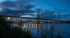 Forth Road Bridges HDR (Claire Stones) Tags: forthroadbridge longexposure october nikon newforthroadbridge cloud southqueensferry clouds bluesky firthofforth hdr scotland forth
