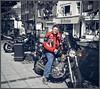 Me on the Virago (larry_shone) Tags: motorcyclesopentoall motorbike yamaha virago vtwin urban selectivecolour