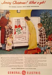 """""""Merry Christmas to the Family"""" (saltycotton) Tags: kitchen appliances refrigerator generalelectric ge holidays christmas toys doll firetruck family husband father housewife mother children pajamas robes theamericanhome 1948 1940s"""