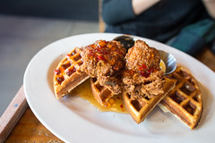 Chicken and Waffles, Maple Pepper Jelly (seango) Tags: usa pnw pacificnorthwest pacific northwest nikon d600 seango travel photography travels tourism getaway trip vacation 2016 october seattle washington wa local360 maple pepper jelly chicken waffles friedchicken