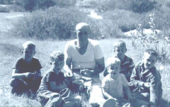 Grandpa Joseph Bader and his grandkids, as they watch him roll his cigarettes-l to r-Jim, Mike, Joe Bader, Dennis, Dan and Dave-1962 (Dennis Browne) Tags: browne davebrowne jimbrowne mikebrowne dennisbrowne bader josephbader camping danbrowne