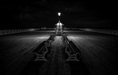 The end of the pier (technodean2000) Tags: nikon d610 lightroom uk south wales penarth peir pier outdoor monochrome night blackandwhite