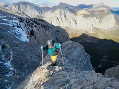 "Mt Yamnuska Summit Scramble - Ben on a ridge with ""exposure"" - a fall in either direction would be fatal (benlarhome) Tags: yamnuska exshaw alberta canada scramble scrambling hike hiking trail path"