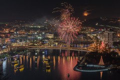 LIght-up night Pittsburgh '16 (pgnynt) Tags: fireworks pittsburgh rivers bridges night d750 moon moonrise holiday gatewayclipper alleghenyriver reflections