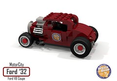 MotorCity Ford 1932 V8 Coupe - Lucky Eddie's Speed Shop (lego911) Tags: ford 1932 1930s classic v8 coupe lucky eddies speed shop custom kustom usa america auto car moc model motorcity lego 911 ldd render cad povray lugnuts challenge 109 deuceswild deuces wild lego911