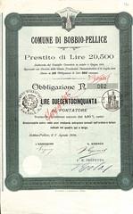 COMUNE DI BOBBIO - PELLICE (scripofilia) Tags: 1896 bobbio comune comunedibobbiopellice obbligazioni pellice