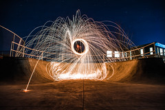 Falling Down (Evan's Life Through The Lens) Tags: camera sony a7rii lens glass 2470mm f28 canon zoom wide telephoto long exposure night light bright dark sparks steel wool fire amazing beautiful vibrant color orange yellow blue green autumn cold 2016