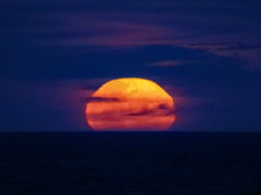Red Moon at Night (Steve Taylor (Photography)) Tags: blue mauve red orange yellow purple newzealand nz southisland canterbury christchurch newbrighton ocean pacific sea distorted spring cloud moon sky dusk night twilight bloodmoon