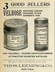 Velrose Shaving Cream, Shaving Stick & Barber's Bar - Thos Leeming & Co. (vieillespubs) Tags: 1896 montral