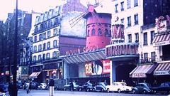 Moulin Rouge, Boulevard de Clichy, Paris (1958) (David McKelvey) Tags: paris france 35mm 1958 moulinrouge boulevarddeclichy