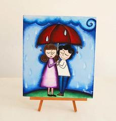 quadretto coppia sotto la pioggia acrilico su legno