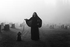 We Will Follow You (Maren Klemp) Tags: portrait blackandwhite woman dog pet mist nature monochrome cemetery field fog dreamy symbolic fineartphotography darkart evocative outdoorsphotography expressivephotography fineartphotographer darkartphotography