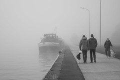 Promenade matinale (celinadayton) Tags: blackandwhite dog chien mist man nature water fog outside boat canal eau belgium belgique noiretblanc promenade bateau paysage extrieur brouillard channel brume homme lige peniche herstal