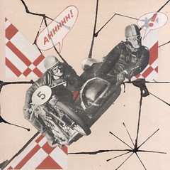 dialogue - daredevil driving (kurberry) Tags: red square motorcycle dialogue cutpaste motorcycleracing speechbubbles vintageephemera