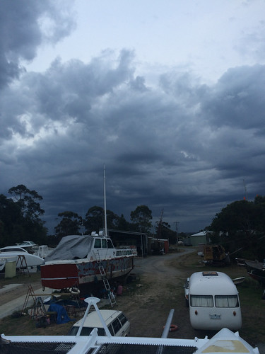Back home at the boatyard. Thunderstorm sky.