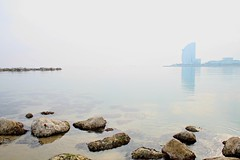 Misty Barcelona shoreline (MordorPotato's Photography) Tags: barcelona sea mist rock misty hotel mar experience catalunya vela mediterranian mediterrani