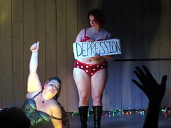 Angel Burlesque certainly isn't about depression! (kennethkonica) Tags: world costumes people usa america canon person women midwest faces legs skin random expression flash stripe indy indiana striptease onstage thedonald trump global worldpeace canonpowershot marioncounty angelburlesque