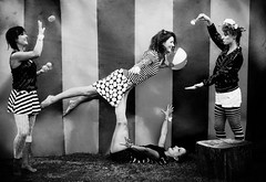 Circus (Ronronner) Tags: circus oldlens striped ladies fun flower acrobata blackandwhite makeup rouge wood balls acroyoga