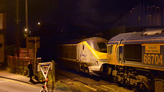 66704 and 373006 at Coalville (robmcrorie) Tags: 373005 coalville high street level crossing railway inn 373006 66704 6x73 night dark rail gbrf eursotar scrap st pancras kingsbury emr