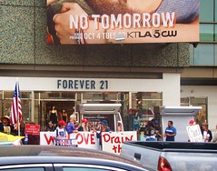 """Hollywood Trump Rally - """"No Tomorrow"""" / """"Forever 21"""" (ramalama_22) Tags: la losangeles hollywwod boulevard walkoffame defaced vandalized star rainy sunday donald trump presidential candidate rally politics political hollywood no tomorrow forever 21 2016 election billboard store sign forever21 ktla tv television station traffic afternoon drain swamp"""