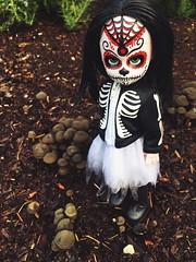 They spring up where'er she walks (Dymphna ) Tags: living dead doll calavera mushroom fungus frightful scary dark damp dank october halloween skulll creepy series 18