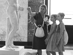 Paris, 2016 (People in museums) (A-cat-and-a-half) Tags: girls museum louvre paris education twins disappointment blackandwhite mothersanddaugthers candid street genitals small big statue sculpture greek roman ancient explanation olympus peopleinmuseums