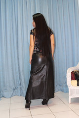 Shiny Leather Butt. (johnerly03) Tags: erly philippines filipina asian fashion long leather skirt knee length high heel boots hair