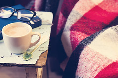 Cup of hot cocoa on chair (lyule4ik) Tags: cocoa blanket hot winter bed reading bedding autumn breakfast home cold sofa lemon warm leisure soft woolen nobody red life cup details morning living spoon cozy pages knitted time lifestyle still interior free fall relax mood house gingham gloves scene inspiration domestic comfortable indoors comfort mittens book textile relaxation