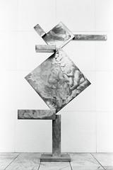 David Smith : Cubi X. MoMA, NYC. (setpower1) Tags: minoltasrt102 kodaktrix kodakd76 bw vintagefilmcamera 35mmfilm hoyak2 newyorkcity nyc minolta58mmf14mcrokkor moma museumofmodernart davidsmith cubix