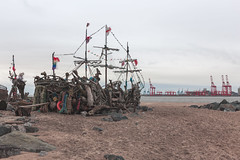The Black Pearl (TimBobMcG) Tags: pirateship boat sand mersey beach timothymcgaw
