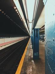 york street station. (howard-f) Tags: nyc newyorkcity dumbonewyork cityscape urban urbanphotography iphone iphone6pluspano iphoneography iphonepano cityview thebigapple dumbo massive vsco vscoam iphone6plus brooklyn brklyn subway ftrain 6thavenuelocal yorkstreet yorkstreetstation rapidtransit subwayplatform blue newyorkcitysubway
