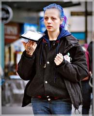 Blue (1980blue Street) Tags: candid street queenstreet autumn sunny warm girl female woman lady blue pink hair colourful cardiff caerdydd