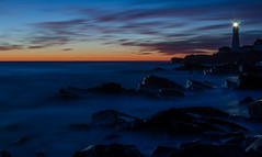 way early (paul noble photography) Tags: paulnobleimages paulnoblephotography portlandheadlight lighthouse longexposure atlanticocean awesome awesomeclouds america amazing alone civiltwilight rockycoast rockymainecoast dawn sunrise earlymorning nikond7000 freelancephotographer freelancephotographersinportlandmaine seascapes serene seascape interestingness interesting insanelight googleimages 35mm18nikon